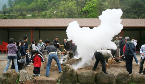 Tourists enjoy a steam pit experience. Afterwards they eat sweet potatoes and eggs out of the steam pit.