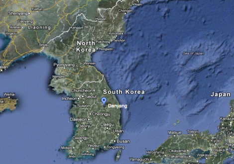 Danyang, South Korea. Image credit: Google Maps.