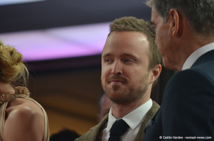 """""""A Long Way Down"""" costars Aaron Paul and Pierce Brosnan at the 2014 Berlinale film festival."""