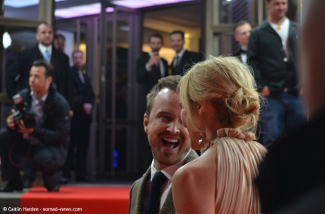 "Aaron Paul with ""A Long Way Down"" costar Toni Collette at the 2014 Berlinale film festival."