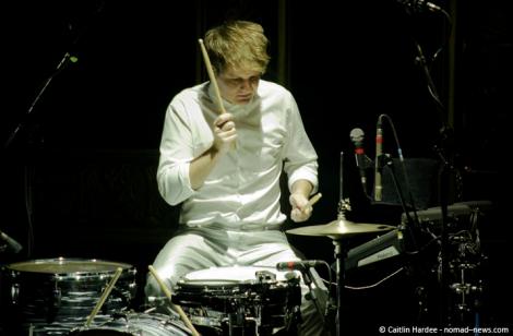 Lorde's drummer, Ben Barter, onstage in Berlin. Copyright: Caitlin Hardee, Nomad News.
