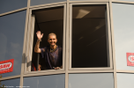 Tokio Hotel vocalist Bill Kaulitz greets the fans at radio SAW in Magdeburg.