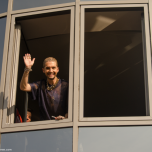 Tokio Hotel vocalist Bill Kaulitz greets the fans at radio SAW in Magdeburg.