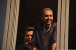 Tokio Hotel vocalist Bill Kaulitz and bassist Georg Listing greet the fans at radio SAW in Magdeburg. Copyright: Caitlin Hardee
