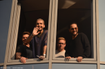 Tokio Hotel say hello to fans at radio SAW in Magdeburg. Copyright: Caitlin Hardee
