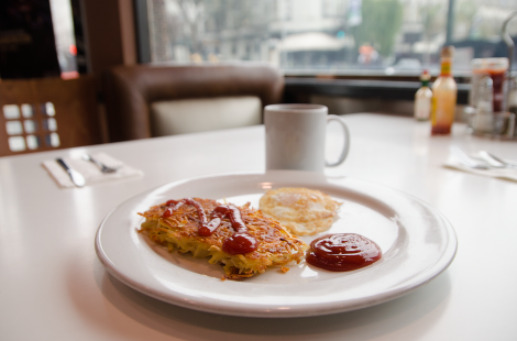 Hashbrowns, egg, coffee. Diner breakfast on a misty SF morning.